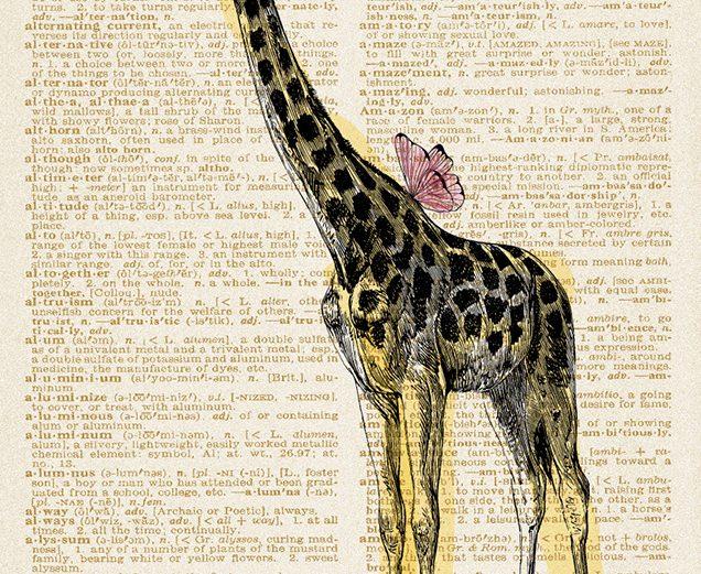 Žirafa sa cvijećem