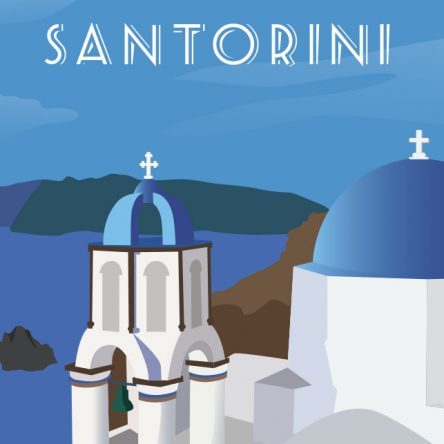 Retro promotional Santorini